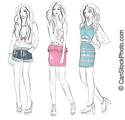 mädels, illustration., junger, mode