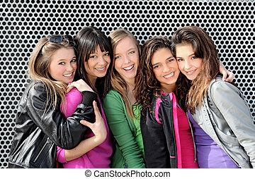 mädels, jungendliche, verschieden, gruppe