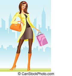 mädels, mode, shoppen