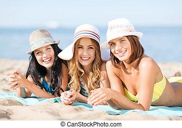 mädels, sonnenbaden, strand