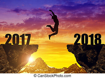 mädels, springen, zu, der, jahreswechsel, 2018