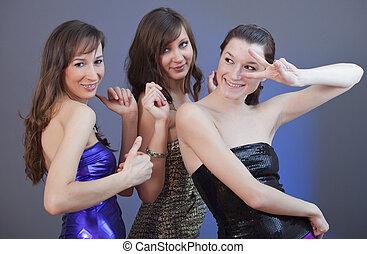 mädels, tanzen, an, disko