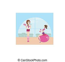 mädels, trainieren, in, a, turnhalle
