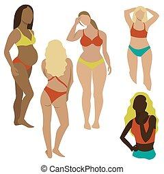 mädels, vektor, baden, weißes, satz, abbildung, klage, hintergrund.