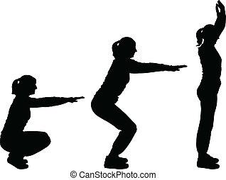 mädels, vektor, -, trainieren