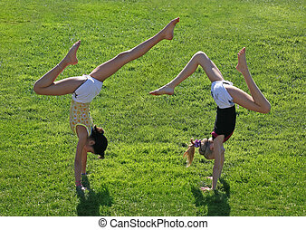 mädels, zwei, trainieren