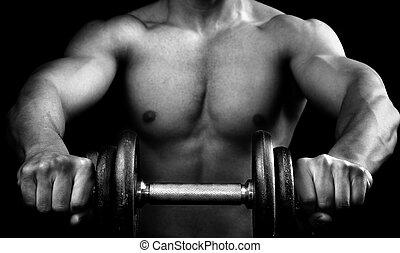 mäktig, muskulös, man, holdingen, a, hantel