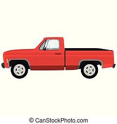 mäktig, nymodig, varubil, truck., röd