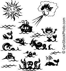 mäktig, odjur, hav