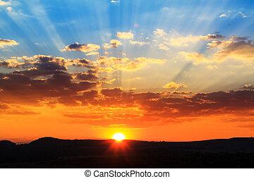 mäktig, solnedgång