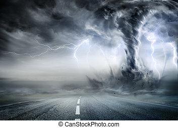 mäktig, tromb, på, väg, in, stormig, landskap