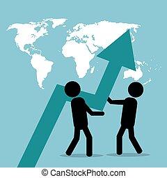 män, affär, pressande, pil, tillväxt, klot