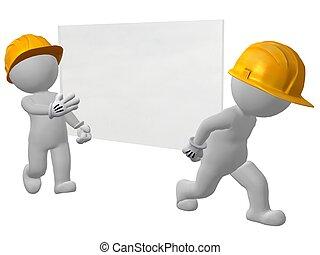 män, arbete, två, glas, bärande, glasruta