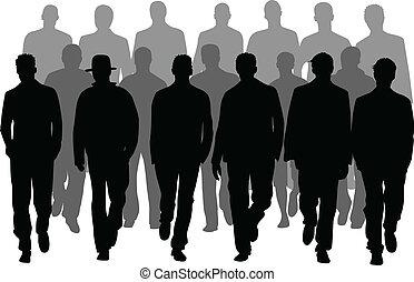 män, grupp