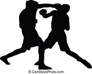 män, silhuett, boxning