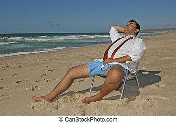 !, män, strand, avkopplande, affär