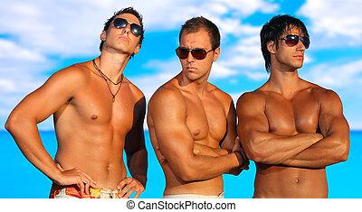 män, strand, avkopplande