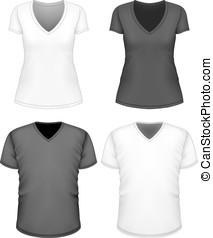 män, v-hals, kvinnor, sleeve., t-shirt, kort