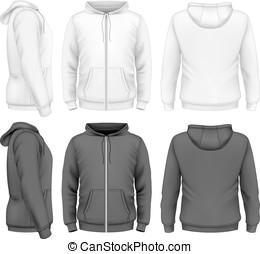 män, vinande, hoodie