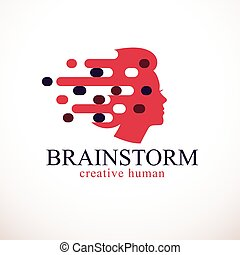 människa huvud, tanken, design, profil, template., vektor, ...