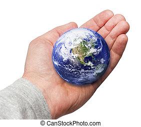 människa lämna, hålla världen, in, hand