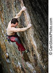 männlich climber, gestein