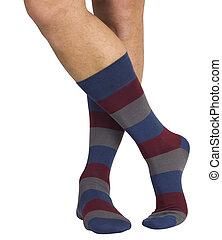 männliche beine, in, socks., freigestellt, weiß, hintergrund