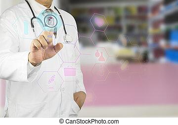 männlicher doktor, arbeitende , mit, stethoskop