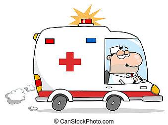 männlicher doktor, fahren, krankenwagen