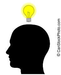 männlicher kopf, silhouette, mit, glühlampe