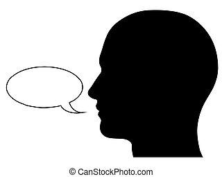 männlicher kopf, silhouette, mit, sprechblase