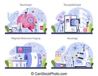 mänsklig, brain., begrepp, läkare, set., neurologen, undersöka, idé