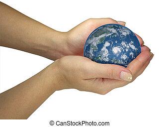 mänsklig, dam, räcker, holdingen, värld glob, isolerat, över, vit