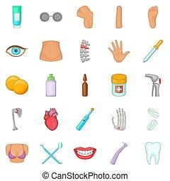 mänsklig, hälsa, ikonen, sätta, tecknad film, stil