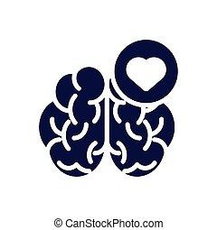 mänsklig hjärta, ikon, silhuett, hjärna, stil