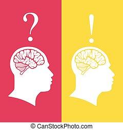 mänsklig, illustration, problem, brain., vektor, huvuden, lösning, begrepp