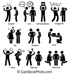 mänsklig, man, tecken, uppförande