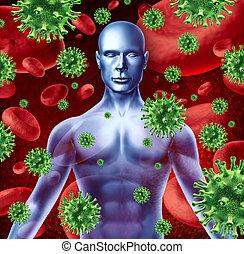 mänsklig, sjukdom, infektion
