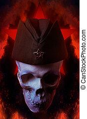 mänsklig skalle, med, militär, foder, cap.
