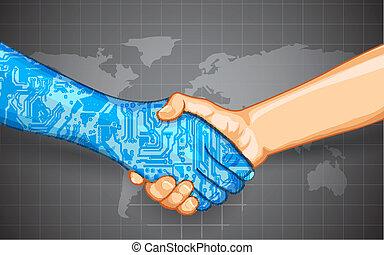 mänsklig, teknologi, växelverkan