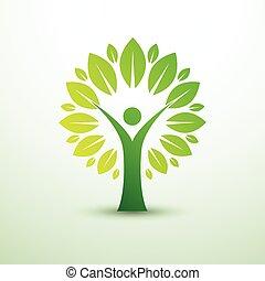 mänsklig, träd