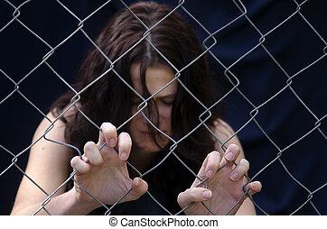 mänsklig, trafficking, -, begrepp, foto