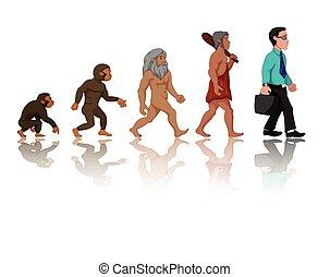 mänsklig, utveckling, från, apa, till, man