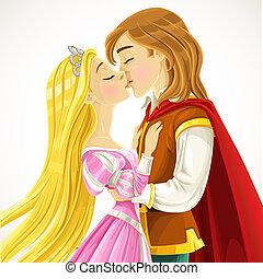 märchenprinz, küsse, der, reizend, prinzessin