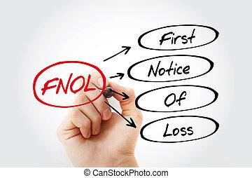 märka, första, akronym, fnol, -, förlust