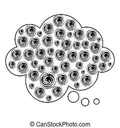 märke, bubbla, moln, pratstund, ikon
