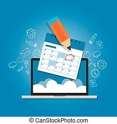 märke, cirkel, din, kalender, dagordning, direkt, moln, planerande, laptop