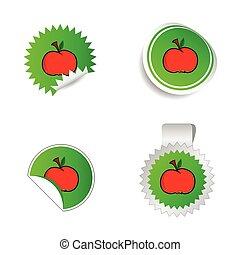 märke, grön, färg, med, rött äpple, vektor