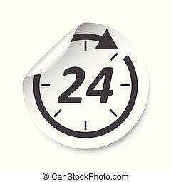 märke, illustration., timmar, vektor, 24, label.
