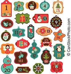 märken, advent kalender, -, etiketter